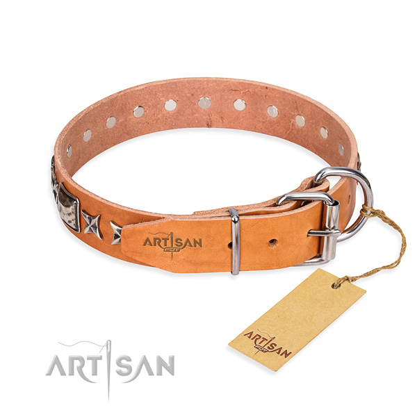 Quality adorned dog collar of full grain genuine leather