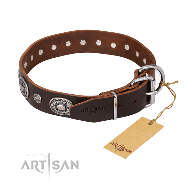 Reliable leather dog collar handmade for fancy walking
