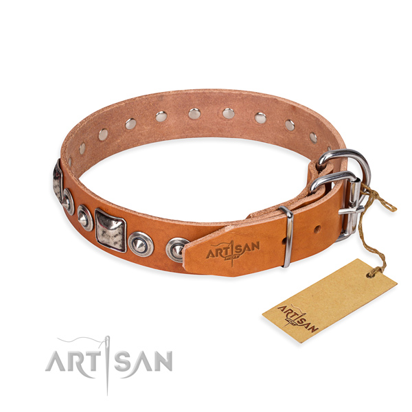 Full grain natural leather dog collar made of high quality material with reliable studs