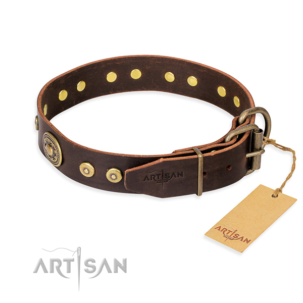 Full grain genuine leather dog collar made of gentle to touch material with rust resistant adornments