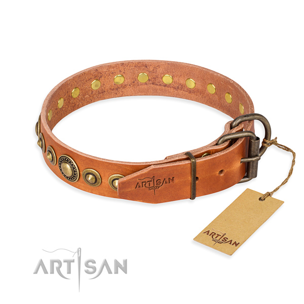 Soft to touch full grain genuine leather dog collar created for easy wearing