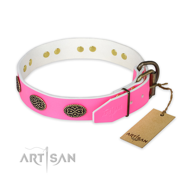 Strong embellishments on handy use dog collar