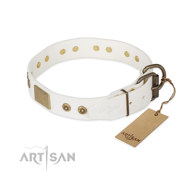 Full grain natural leather dog collar with corrosion resistant D-ring and embellishments