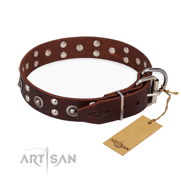 Corrosion resistant buckle on leather collar for your handsome dog