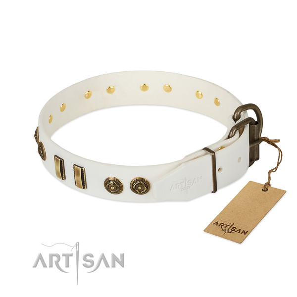 Strong fittings on full grain leather dog collar for your dog