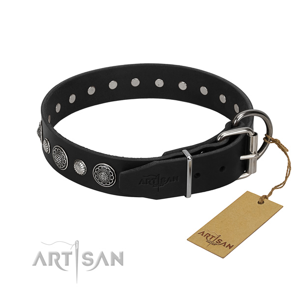 Best quality genuine leather dog collar with trendy adornments
