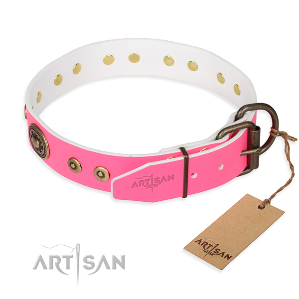 Full grain genuine leather dog collar made of soft material with strong decorations