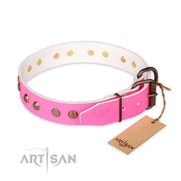 Rust resistant traditional buckle on full grain genuine leather collar for your impressive pet