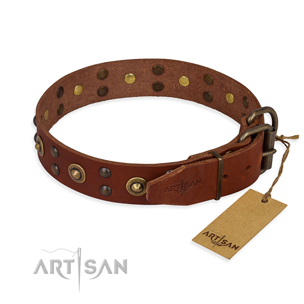 Corrosion resistant D-ring on full grain leather collar for your handsome doggie