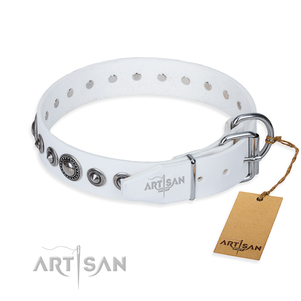 Full grain genuine leather dog collar made of soft to touch material with reliable studs