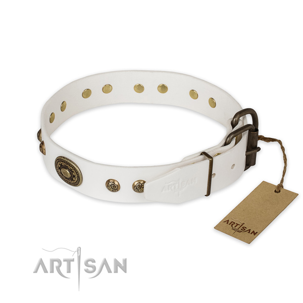 Strong D-ring on full grain natural leather collar for daily walking your doggie