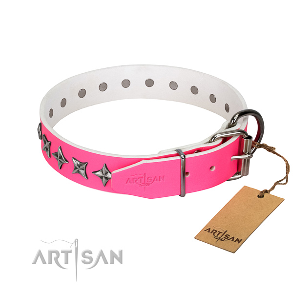 Fine quality genuine leather dog collar with amazing studs