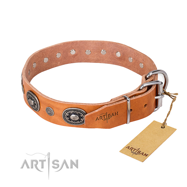 Soft to touch full grain natural leather dog collar created for daily walking