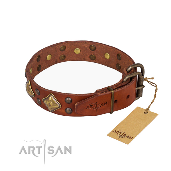Full grain genuine leather dog collar with unusual strong studs