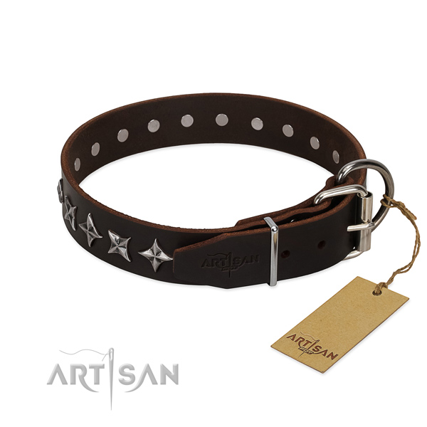 Easy wearing studded dog collar of fine quality genuine leather