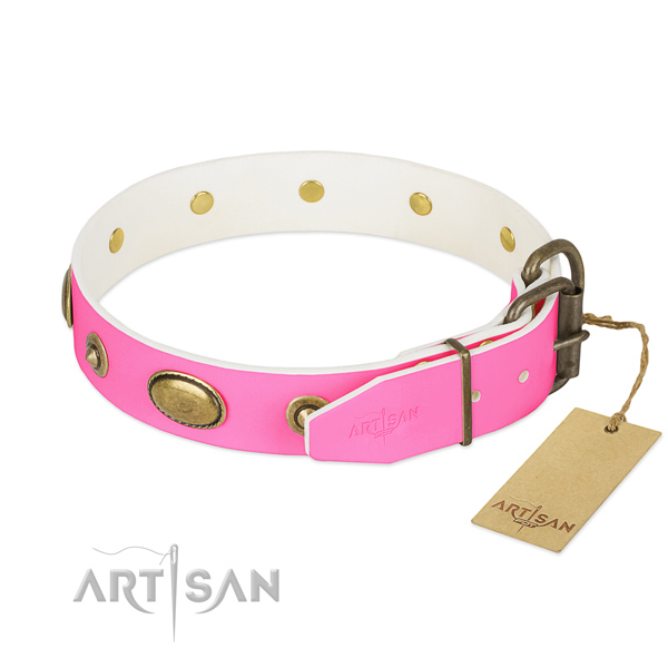 Rust-proof buckle on natural leather dog collar for your doggie