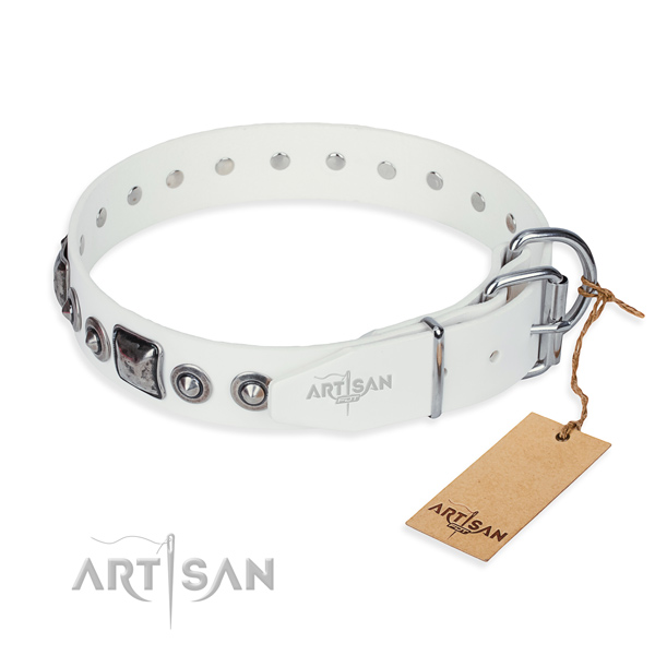 Soft to touch natural genuine leather dog collar crafted for basic training