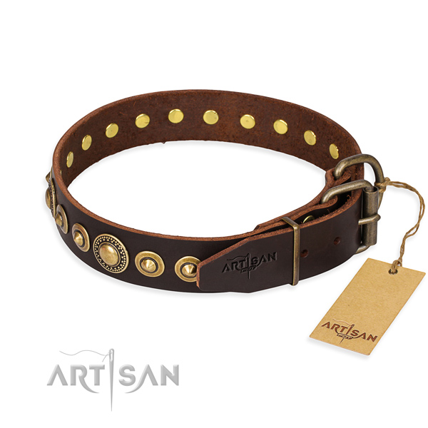 Best quality full grain leather dog collar handmade for everyday walking
