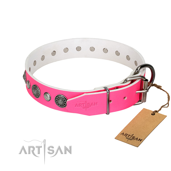 Top notch natural leather dog collar with corrosion resistant traditional buckle