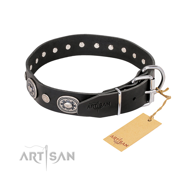 High quality leather dog collar made for daily walking