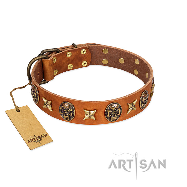 Decorated genuine leather collar for your doggie
