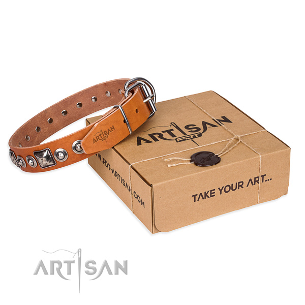 Full grain genuine leather dog collar made of top notch material with corrosion resistant hardware