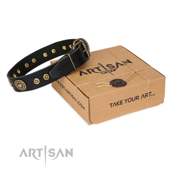 Genuine leather dog collar made of flexible material with corrosion resistant fittings