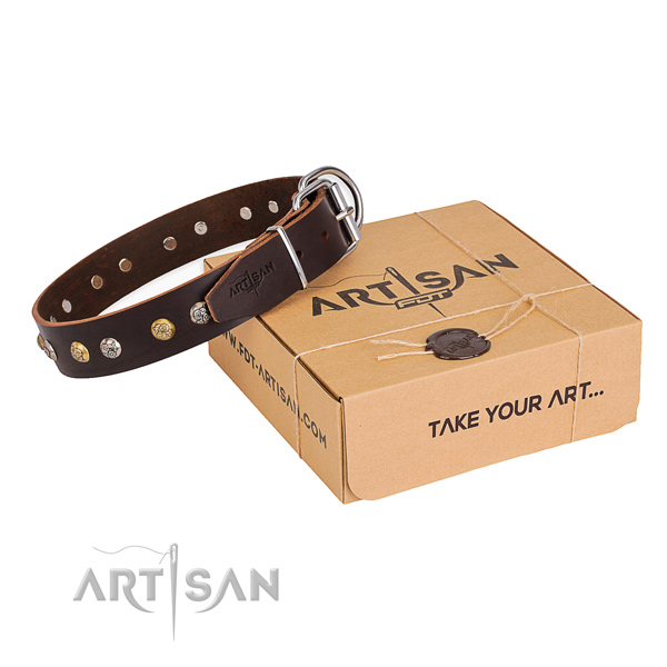 Flexible full grain natural leather dog collar crafted for easy wearing