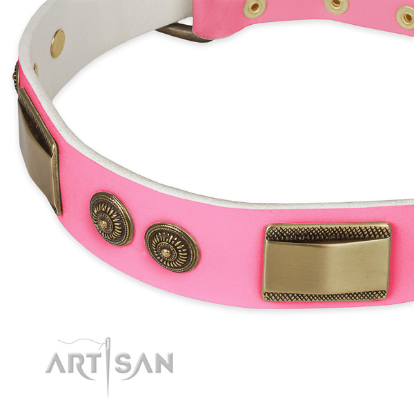 Full grain genuine leather dog collar with studs for comfortable wearing