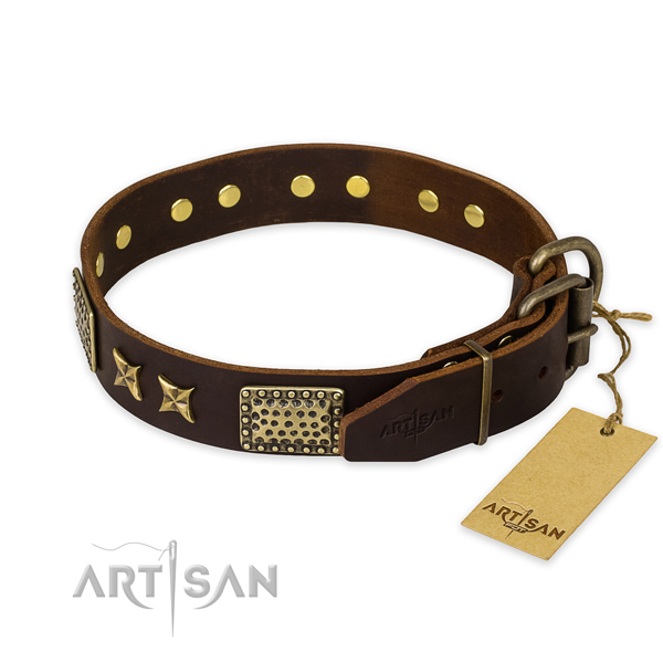Corrosion resistant fittings on genuine leather collar for your attractive pet