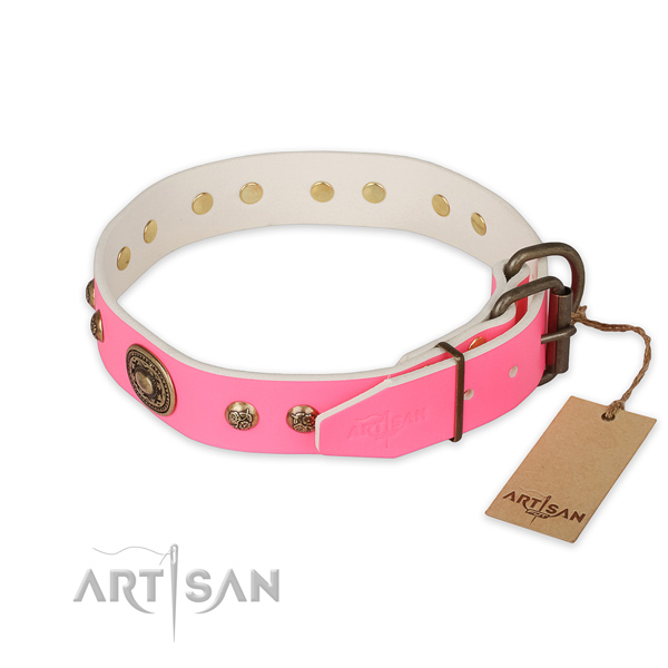 Corrosion resistant traditional buckle on full grain genuine leather collar for everyday walking your doggie