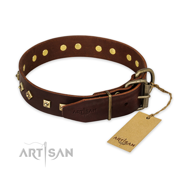 Rust-proof D-ring on genuine leather collar for stylish walking your dog