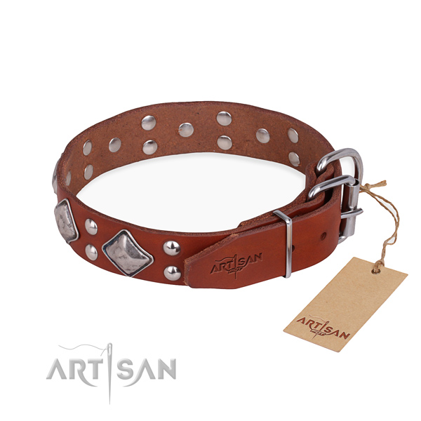 Full grain genuine leather dog collar with trendy corrosion proof embellishments