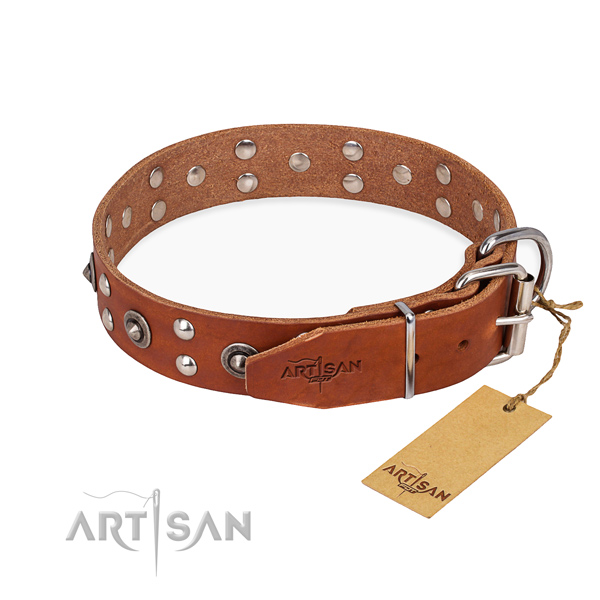 Strong hardware on full grain genuine leather collar for your impressive four-legged friend