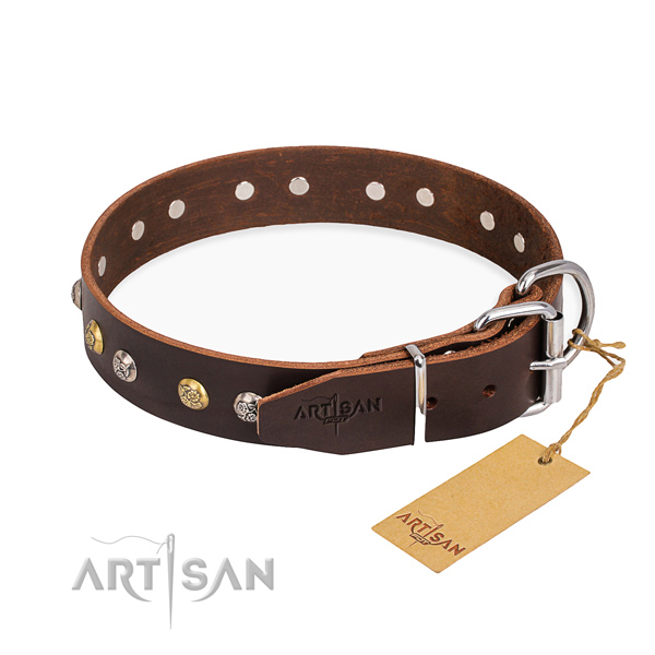 Soft genuine leather dog collar crafted for walking