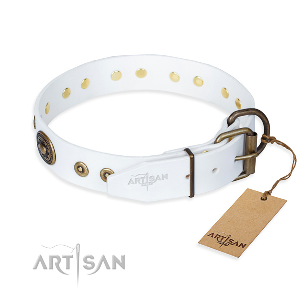Full grain genuine leather dog collar made of soft material with reliable adornments