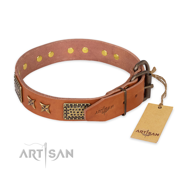 Durable fittings on genuine leather collar for your lovely four-legged friend
