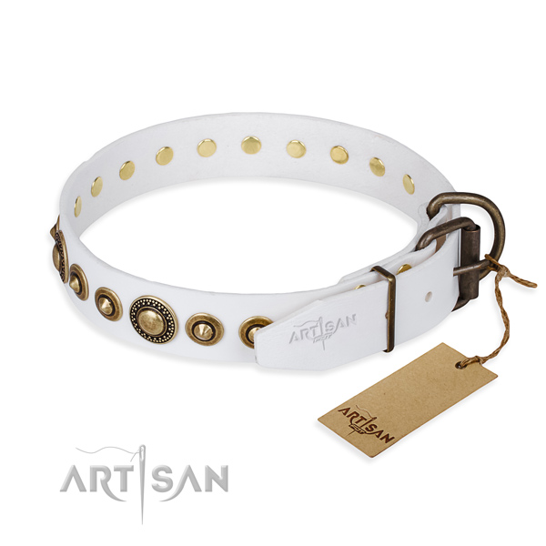 Top rate natural genuine leather dog collar created for comfy wearing