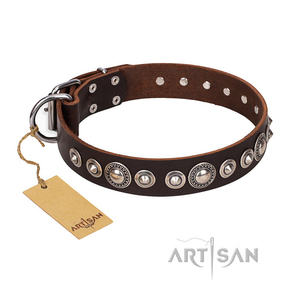 Genuine leather dog collar made of top rate material with rust-proof embellishments