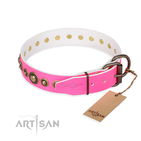Gentle to touch full grain leather dog collar made for daily use