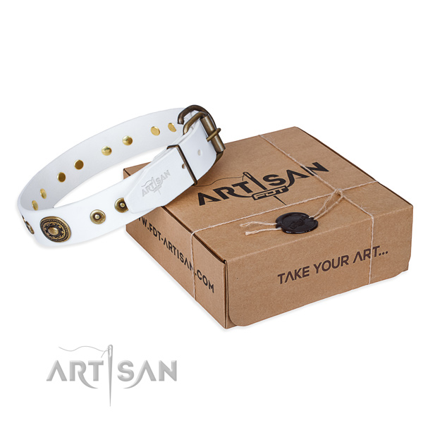 Leather dog collar made of high quality material with corrosion proof buckle