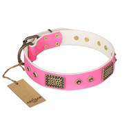 """Frenzy Candy"" FDT Artisan Decorated Pink Leather Boxer Collar"