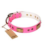 """Pink Daydream"" FDT Artisan Pink Leather Boxer Collar with Old Bronze Look Plates and Studs"
