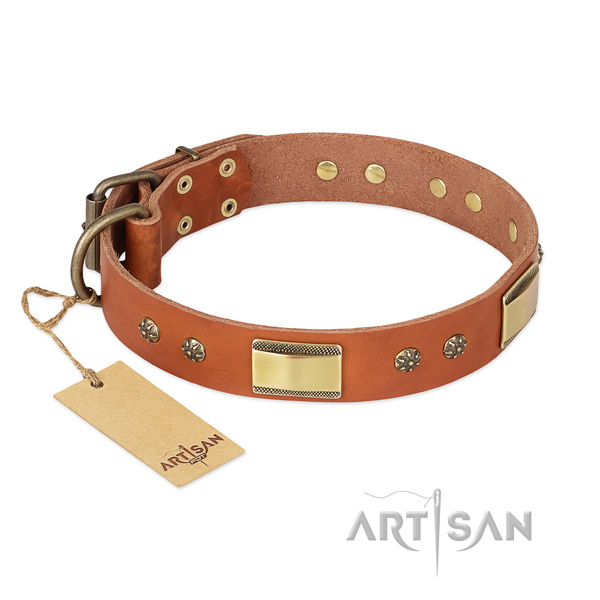 Stylish design natural genuine leather collar for your canine