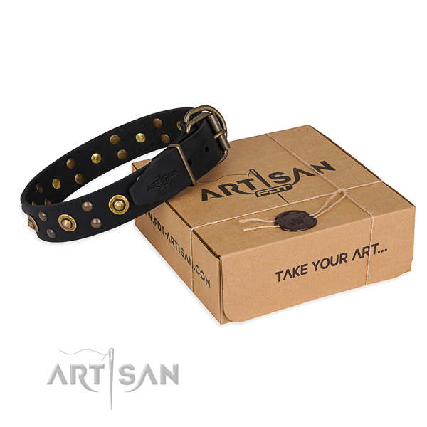 Corrosion resistant D-ring on full grain natural leather collar for your attractive canine