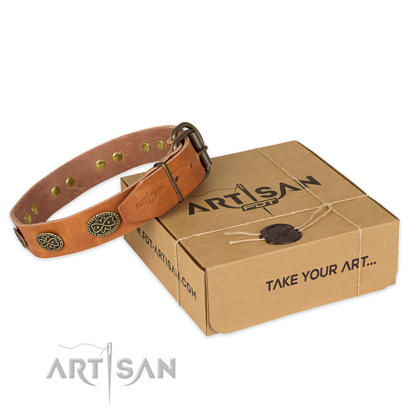 Durable hardware on natural genuine leather collar for your handsome canine