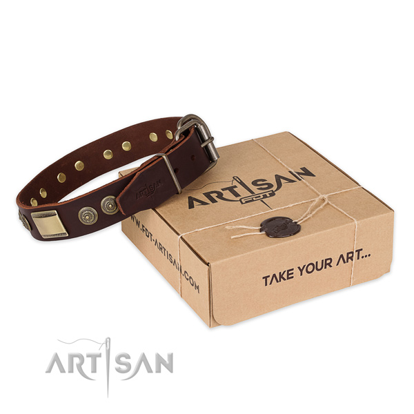 Corrosion resistant fittings on genuine leather dog collar for everyday use