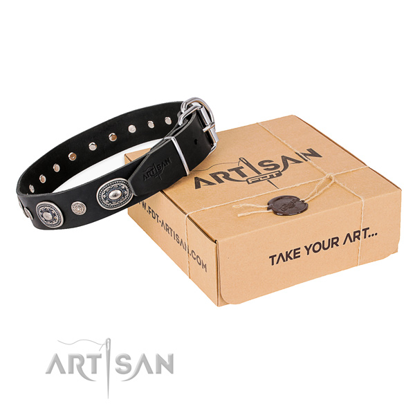 Reliable full grain natural leather dog collar crafted for comfy wearing