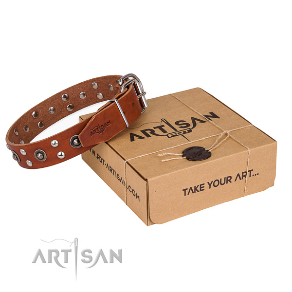 Rust resistant hardware on genuine leather collar for your handsome doggie