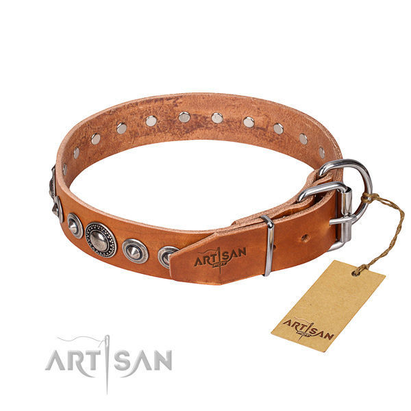 Full grain genuine leather dog collar made of flexible material with rust resistant adornments